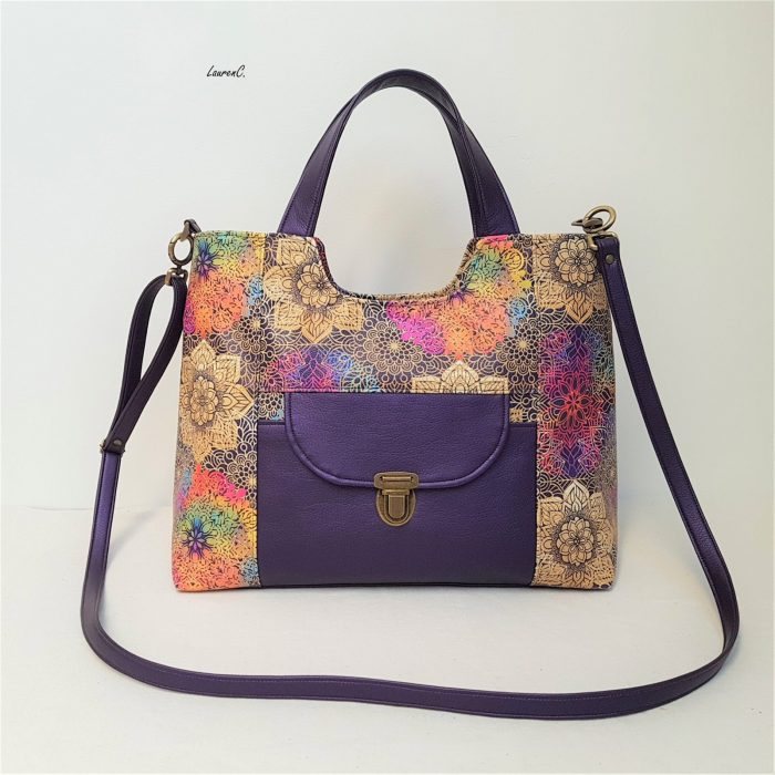SAC SIMILI VIOLET ROSACES MULTICOLORES